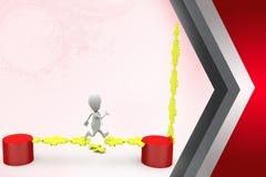 3d man run on puzzle bridge  illustration Stock Photo