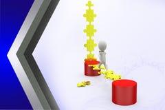 3d man run on puzzle bridge  illustration Stock Photography