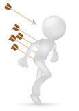 3d man running from arrows Stock Photos