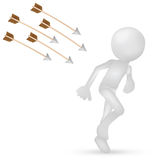 3d man running from arrows Stock Photo