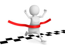 3d man running cross finish line. success winning of human race Royalty Free Stock Photography