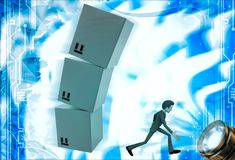 3d man running from falling cube building illustration Royalty Free Stock Images