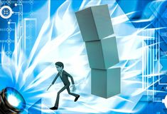 3d man running from falling cube building illustration Stock Photos