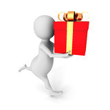 3d man running with gift box in his hand. 3d render illustration Stock Photo