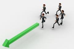 3d man running after green arrow concept Stock Image
