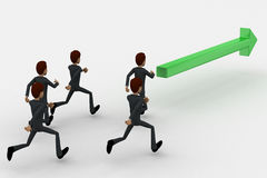 3d man running after green arrow concept Royalty Free Stock Image