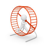 3d man running in the hamster wheel Stock Photos