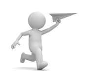 3d man running with paper plane in hand on white background with shadow Royalty Free Stock Photos