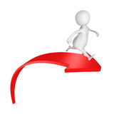3d man running on red rising up arrow. Success concept 3d render illustration Stock Photography