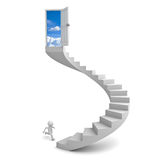3d man running to the sky door. On top of the stairs over white background Stock Photo