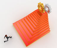 3d man running towards steps with cog wheels on top concept Royalty Free Stock Photo