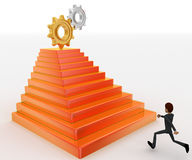 3d man running towards steps with cog wheels on top concept Royalty Free Stock Images