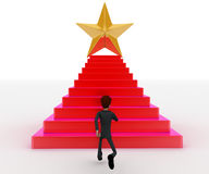 3d man running towards steps with star on top concept Stock Photos
