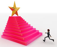 3d man running towards steps with star on top concept Stock Images