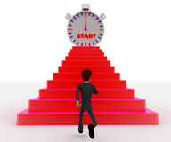 3d man running towards steps with start timber on top concept Stock Photography