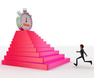 3d man running towards steps with start timber on top concept Royalty Free Stock Photos