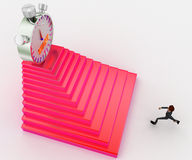 3d man running towards steps with start timber on top concept Stock Photo
