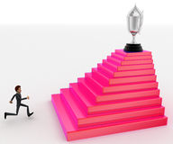 3d man running towards steps with trophy on top concept Royalty Free Stock Photo