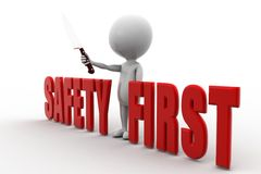 3d man safety first Royalty Free Stock Image