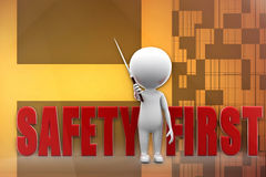 3d man safety first illustration Stock Photos