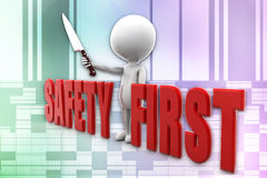 3d man safety first illustration Royalty Free Stock Photos