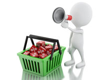 3d man sale announcement with megaphone and shopping basket. Royalty Free Stock Images