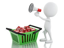 3d man sale announcement with megaphone and shopping basket. Stock Images