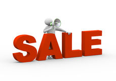 3d man sale megahone annoucement Stock Photo