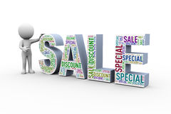 3d man with sale special discount wordcloud Royalty Free Stock Photo