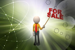 3d man with for sale text Stock Images