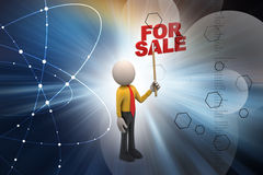 3d man with for sale text Royalty Free Stock Photography