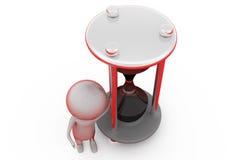 3d man sand clock concept Stock Photos