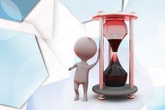 3d man sand clock  illustration Royalty Free Stock Photo
