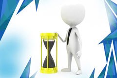 3d man sand clock  illustration Royalty Free Stock Image