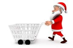 3d man santa cart concept Stock Photography