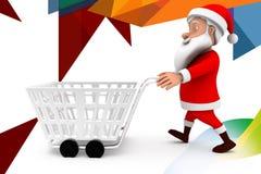 3d man santa cart  illustration Royalty Free Stock Photography