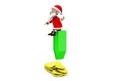 3d man santa coins concept Stock Photos