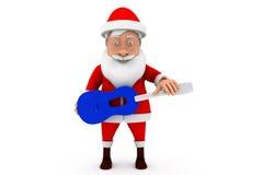 3d man santa guitar concepts Stock Photos