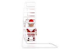 3d man santa hamster wheel concept Stock Images