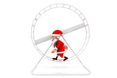 3d man santa hamster wheel concept Royalty Free Stock Photo