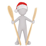3d man in a Santa hat holding cooking utensils. 3d man in a Santa hat holding large wooden cooking utensils with a spoon and fork in his hands in a concept of Stock Photos