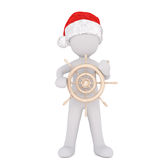 3d man in a santa hat holding a ships wheel Stock Photo