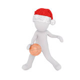 3d man in a Santa hat playing basketball Stock Image
