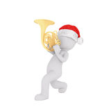 3d man in Santa hat playing a French horn. 3d man in festive red Santa hat playing a shiny brass French horn as he marches along celebrating Christmas, rendered Royalty Free Stock Photography