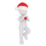 3d man in Santa hat with Valentines heart. 3d man in Santa hat carrying a little red Valentines heart in his hands for his sweetheart as he walks along, isolated Royalty Free Stock Image