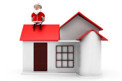 3d man santa home concept Royalty Free Stock Image