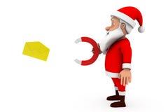 3d man santa magnet mail concept Stock Images