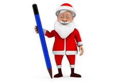 3d man santa pencil concept Royalty Free Stock Images