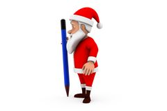 3d man santa pencil concept Royalty Free Stock Image