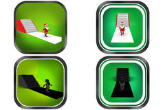3d Man santa stairs concept icon Stock Photography